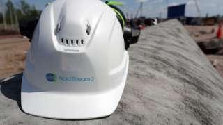 A construction helmet on a section of the Nord Stream 2 natural gas pipeline near Kingisepp, Leningrad Region, Russia, 5 June 2019