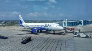 An Indigo Airline is ready for the departure at the Srinagar airport in Jammu and Kashmir.