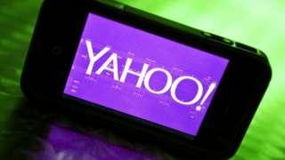 Yahoo logo on a smartphone