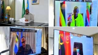 Felix Tshisekedi wa RD Congo, Paul Kagame w'u Rwanda, Yoweri Museveni wa Uganda na João Lourenço wa Angola