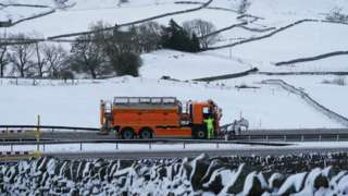A snow plough on the A66 near Bowes in County Durham where the road was closed due to heavy snow