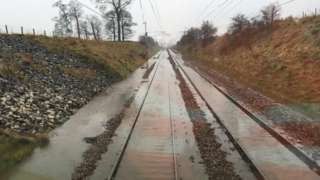 Train lines flooded