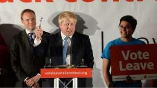 Boris Johnson at a Vote Leave event