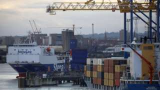 A cargo ferry at Belfast Port