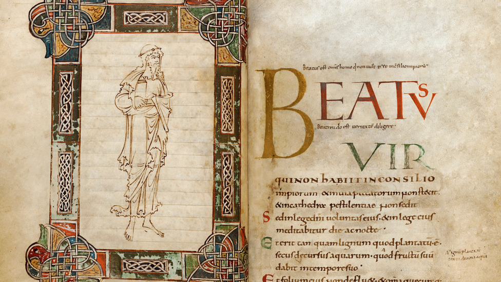 Frontispiece and Psalm 1 in the Becket psalter