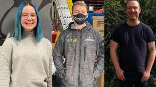 Apprentices Martha McKeown, Zac Hopkins and Steven Sydenham