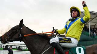 Jamie Codd on Ravenhill celebrates winning the National Hunt Chase at the 2020 Cheltenham Festival