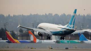 Boeing 737 MAX 7 aircraft piloted by Federal Aviation Administration (FAA) Chief Steve Dickson lands during an evaluation flight at Boeing Field in Seattle, Washington, U.S. September 30, 2020