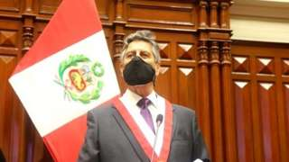 "Francisco Sagasti from the Centrist Morado Party addresses Congress members after he was elected Peru""s interim president, in Lima, November 16, 2020."