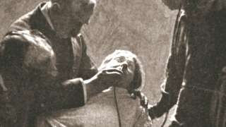 Suffragette being force fed with the nasal tube in Holloway Prison, London, 1909