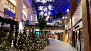 A deserted Victoria Square shopping centre in Belfast