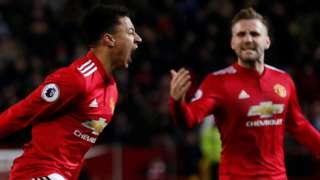 Man Utd celebrate their equaliser