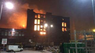 The fire at the mill in Stalybridge
