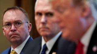 Mick Mulvaney, Mike Pence and Donald Trump