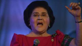 Imelda Marcos addressing a crowd at her birthday party in Manila on Tuesday