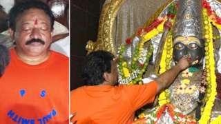హిందూ దేవత విగ్రహానికి మద్యం పట్టిస్తున్న దర్శకుడు రామ్గోపాల్ వర్మ