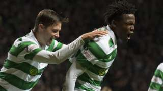 Celtic's Dedryck Boyata (right) celebrates his goal with Mikael Lustig