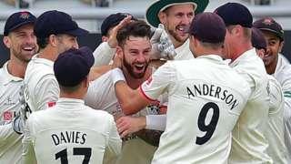 Lancashire celebrate Jordan Clark's hat-trick