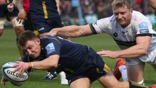 Duncan Weir scored Worcester's opening try as part of an individual 13-point haul