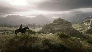 Homem montado em cavalo olhando paisagem