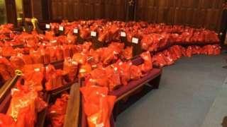 The Christmas gift bags