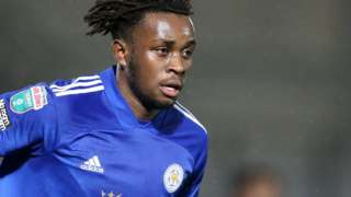 Admiral Muskwe in action for Leicester City Under-21s