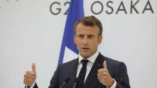 O presidente da França, Emmanuel Macron, durante discurso em Osaka, no Japão