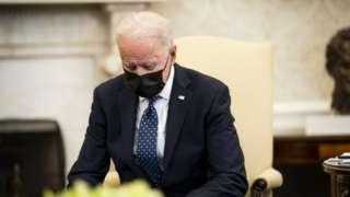 Image shows Joe Biden at the White House on Tuesday