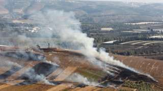 Smoke rises from shells fired from Israel in Maroun Al-Ras village, southern Israel. Photo: 1 September 2019