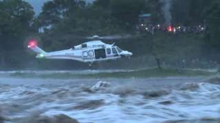 Helicopter rescues stranded fisherman
