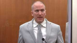 Chauvin falando no tribunal