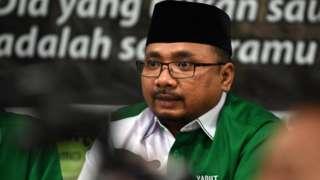 Ketua Umum PP GP Ansor Yaqut Cholil Qoumas memberikan keterangan pers di Jakarta, Rabu (24/10/2018)