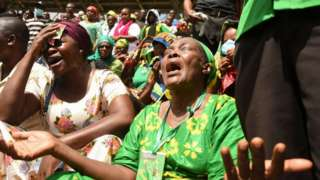 Mourners at President Magufuli's funeral