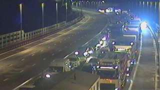Traffic Wales cameras show queuing traffic on the road