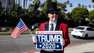 A Donald Trump supporter in a top hat
