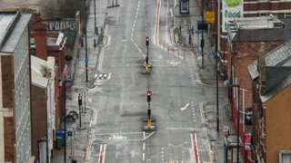 Bradford Street in Birmingham city centre seen deserted on Wednesday