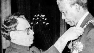 قائم مقام صدر وسیم سجاد نیلسن منڈیلا کو نشانِ امتیاز پیش کرتے ہوئے
