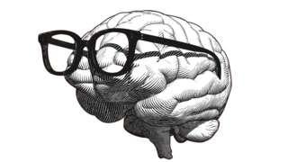 Dibujo de un cerebro con gafas
