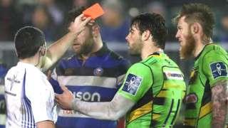 Northampton's Teimana Harrison is sent off by referee Adam Jones