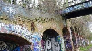 Graffiti on railway bridge