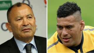 Eddie Jones and Nathan Hughes