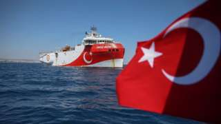 Turkish research ship off Antalya, Turkey on July 22, 2020