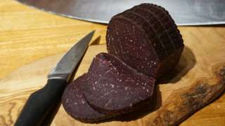 Whale meat sausage