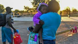 Haitian migrants are seen at a shelter in Ciudad Acuna, Coahuila state, Mexico, on September 23, 2021
