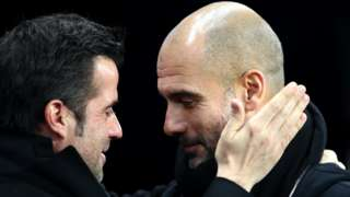 Managers Marco Silva and Pep Guardiola greet each other warmly prior to a game last season