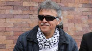 Jesus Santrich arrives for a meeting in Bogota, Colombia, 21 June 2019