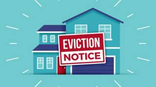 An illustration of a house with an eviction sign