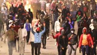 Protesters in Tunis, Tunisia - 20 January 2021