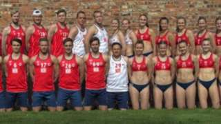 The male and female Norwegian teams pose side by side, the men wearing shorts and long tank tops, the women wearing small bikini tops and bottoms.