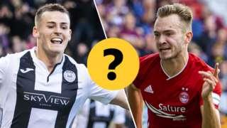 St Mirren's Danny Mullen and Aberdeen's Ryan Hedges
